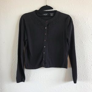Sweaters - Black Cardigan with Flower Detail